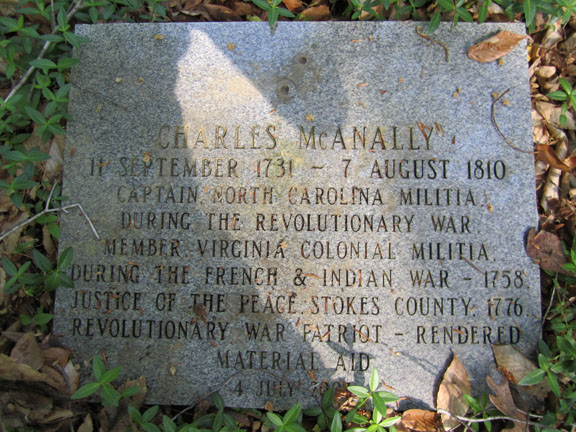 Captain Charles McAnally's modern granite marker.